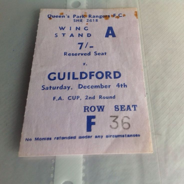 QPR v Guildford city fa cup ticket