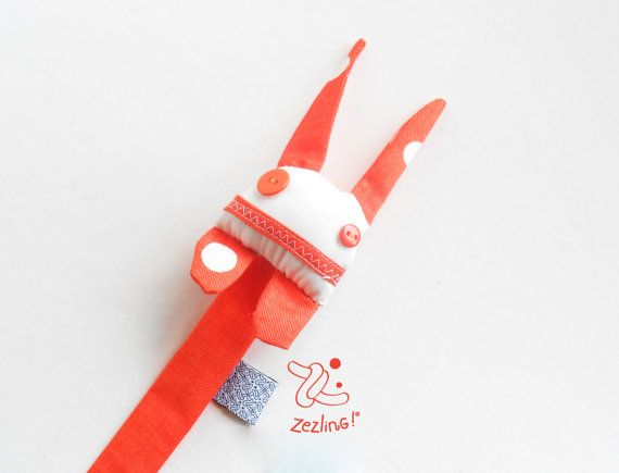 Pacifier clip soft doll | ZUPETA | cute monster pacifier holder | orange and white soother hanger| dummy doll | designer baby accesory