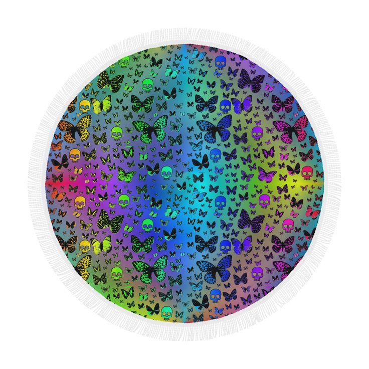 "Colorful Skulls & Butterflies Circular Beach Shawl 59""x 59"""