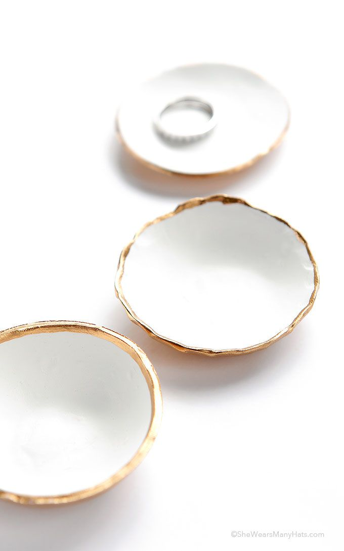 bored? 5 clay crafts to try. gold-rimmed ring bowls. via @wearsmanyhats