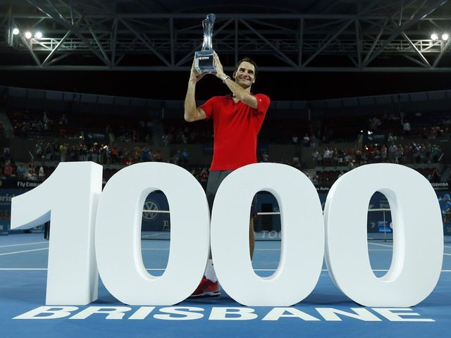Roger Federer notched his 1,000th career victory and collected his 83rd title with a seesawing 6-4, 6-7 (2), 6-4 win over Milos Raonic in the Brisbane International final on Sunday night. Federer joins Jimmy Connors (1,253) and Ivan Lendl (1,071) as the only players to win 1,000 or more matches on the men's professional tour. ''Federer 1,000'' placards and red-and-white Swiss flags being waved around the stadium. Ballboys held up 1,000 in big, white numerals near the net during the…