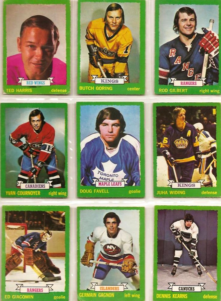 154-162 Ted Harris, Butch Goring, Rod Gilert, Yvan Cournoyer, Doug Favell, Juha Widing, Ed Giacomin, Germain Gagnon, Dennis Kearns