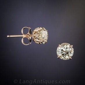 1.70 Carat Old Mine Diamond Stud Earrings in Rose Gold