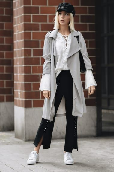 Tomboy Outfit from couturedecoeur with Brixton Hats, ASOS Coats, NA-KD Tops, Karl Lagerfeld Shoulder Bags, Elie Tahari Pants