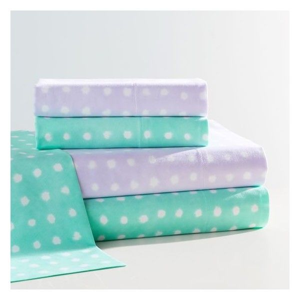 PB Teen Watercolor Dot Sheet Set, XL Twin, Pool ($44) via Polyvore featuring home, bed & bath, bedding, bed sheets, twin xl sheet sets, x long twin sheet sets, twin xl fitted sheet, twin xl flat sheet and polka dot pillow case