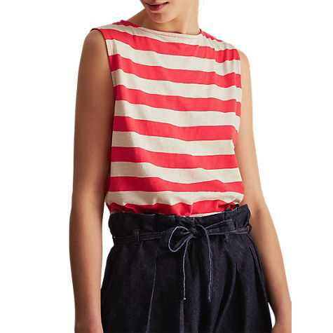 Buy Toast Block Stripe Vest, Bright Coral/Pebble White Online at johnlewis.com