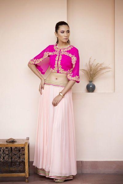 light lehenga, crop top, cape top,  fuschia pink, mehendi outfit,  gold cuff,