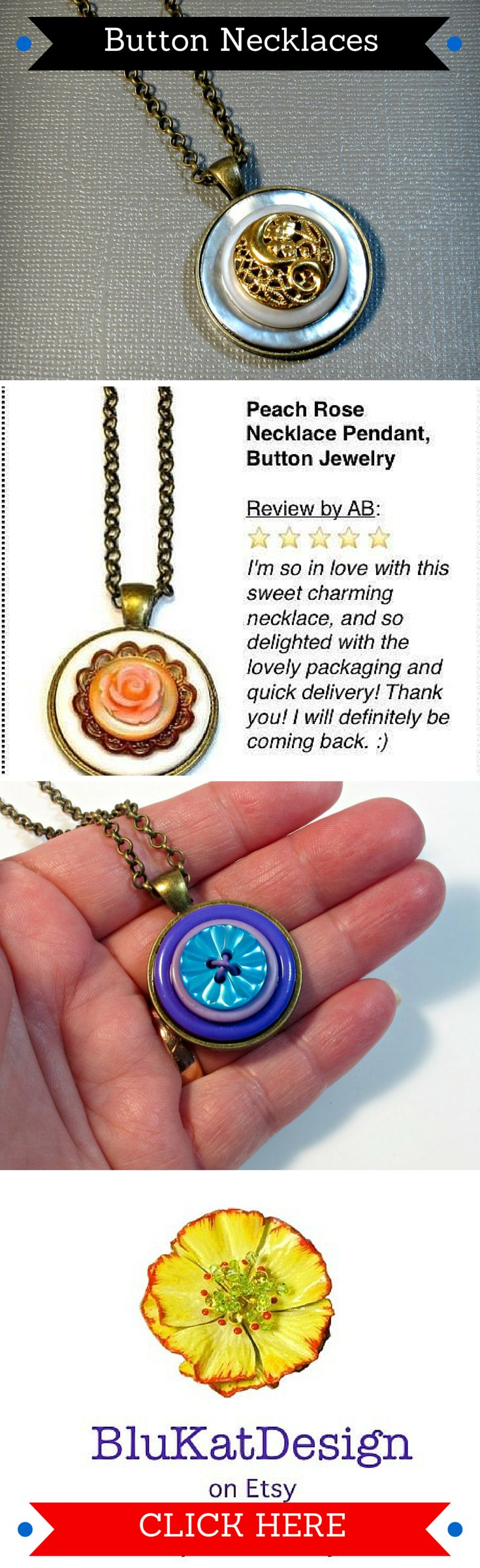One-of-a-kind, vintage button pendant necklaces-> http://etsy.me/1c27ZH4  #upcycled #jewelry