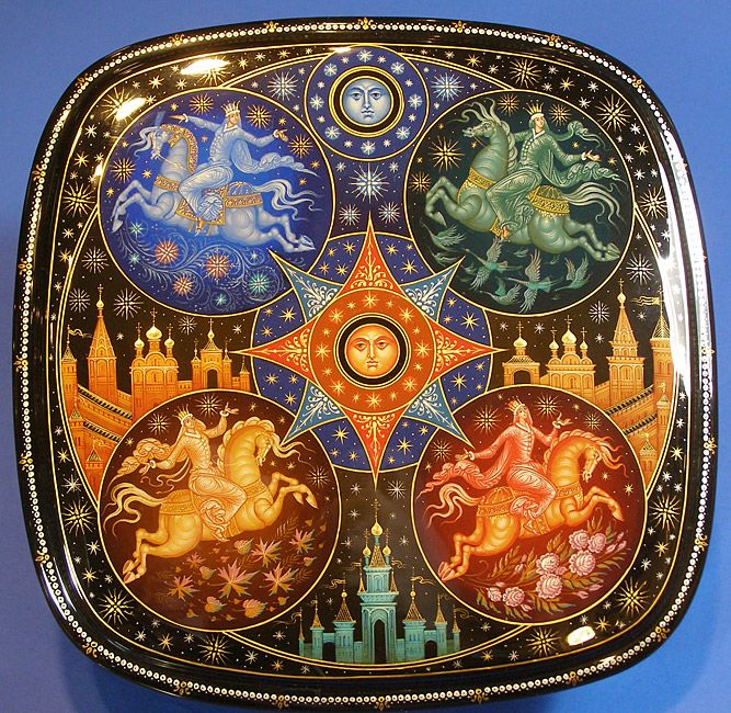 """Russian Lacquer Box   from Mstera  """" Four Seasons """""""