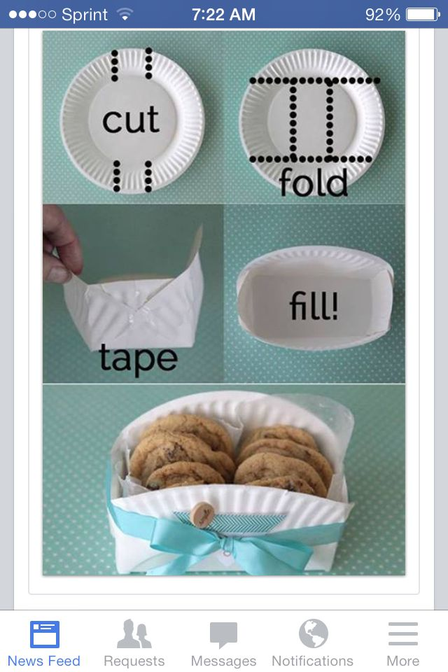 Paper plate made into a cookie/dessert container to give to people.