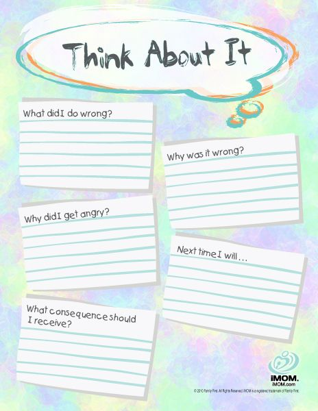 "Like this for making kids think about their actions during a ""time out."" Thinking about laminating this so it can be reused to save paper and so the ""transgression"" can be wiped away and forgotten afterward."