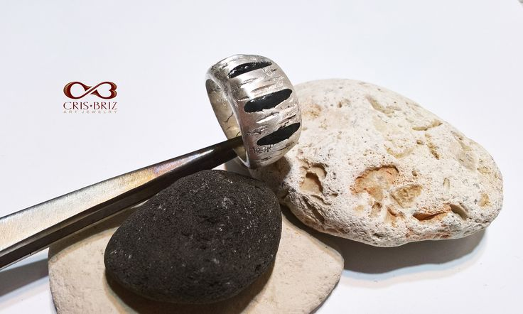 Silver and black resin ring by CrisBriz