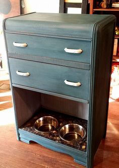 awesome pet station from an old dresser! Studio 11 Boutique located at 606 Commercial Street Emporia KS! Repurposed furniture, upcycled dressers and so much more funky furniture!
