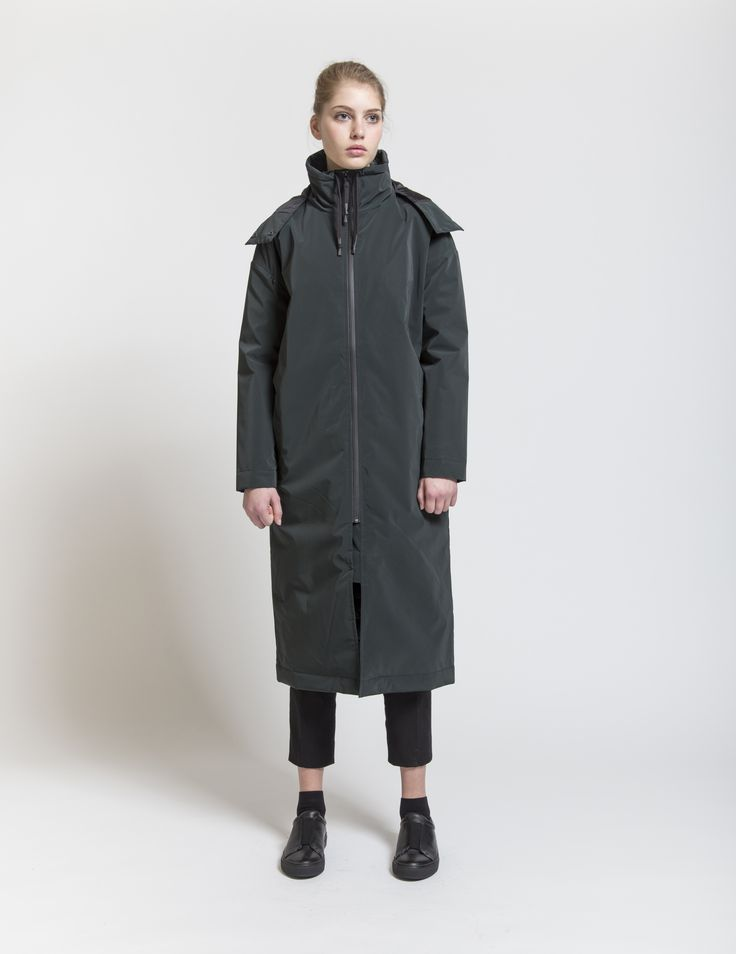 Selfhood - womenswear outfit. Polyester jacket long with hood.