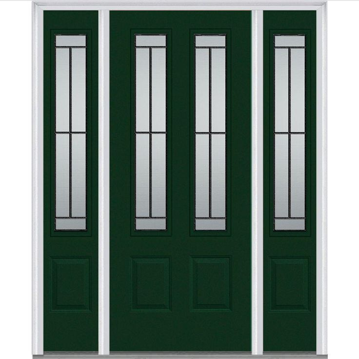 Milliken Millwork 68.5 in. x 81.75 in. Madison Decorative Glass 2 Lite Painted Majestic Steel Exterior Door with Sidelites-Z007269L - The Home Depot