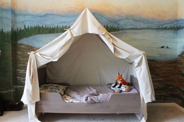 Remodelaholic | Camping Tent Bed in a Kid's Woodland Bedroom--with a lot of other kid projects