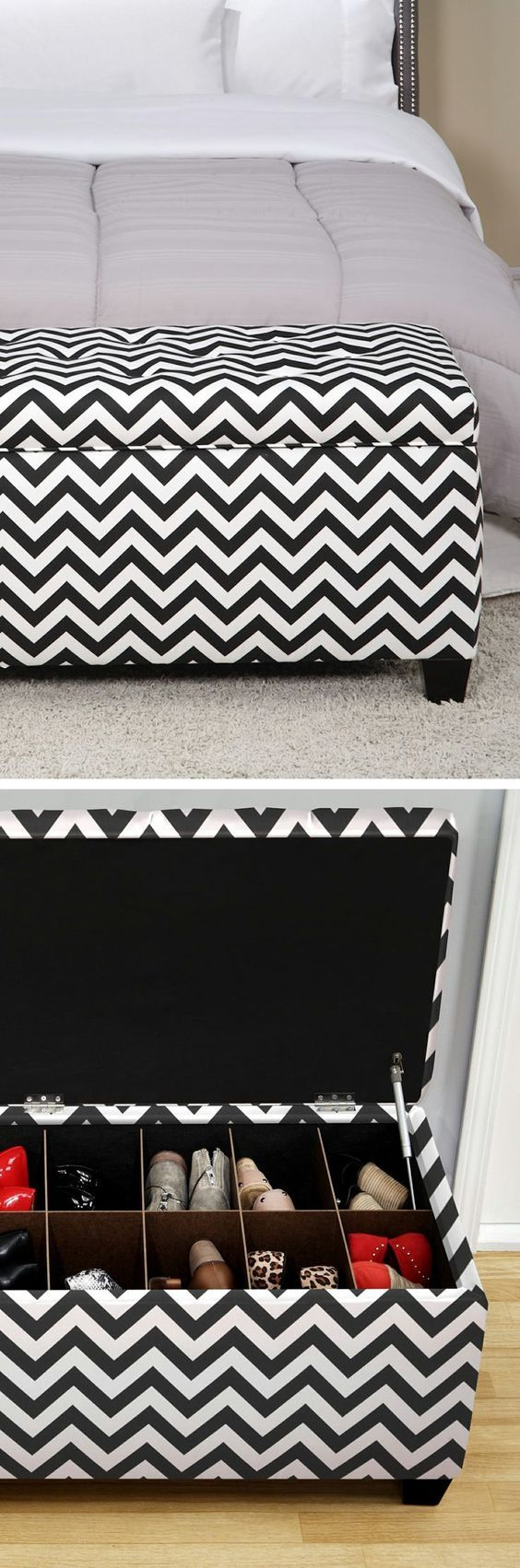 Chevron shoe storage ottoman bench // Need this! So perfect for bedroom or hall organisation #furniture_design: