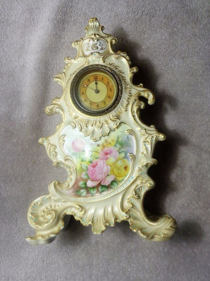 RARE ANTIQUE HAND PAINTED FRENCH LIMOGES PORCELAIN CLOCK #French