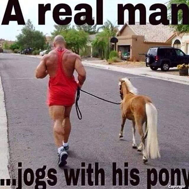 Why is that big strong man jogging with that adorable pony? I can't...I don't even...