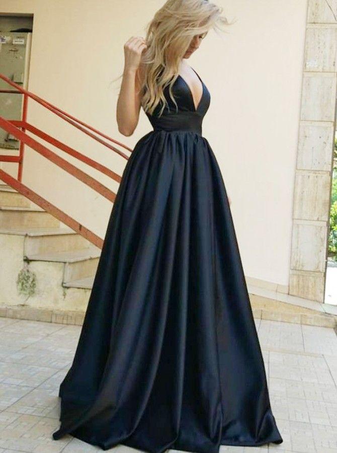 A Line Deep V Neck Backless Black Satin Prom Dress With Pockets Formal Dresses Prom Backless Evening Dress Black Evening Dresses