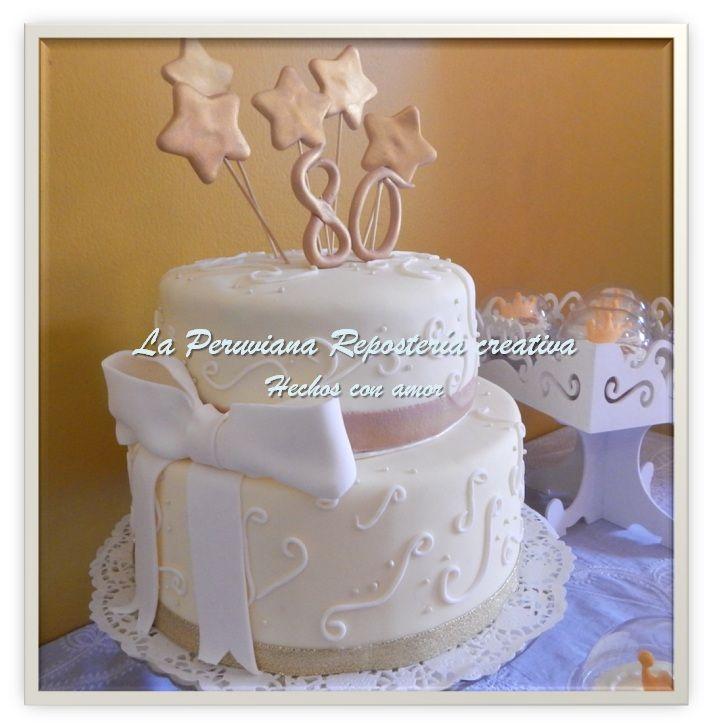 Torta para celebrar los 80 a os de una bella dama for Decoracion 80 anos hombre
