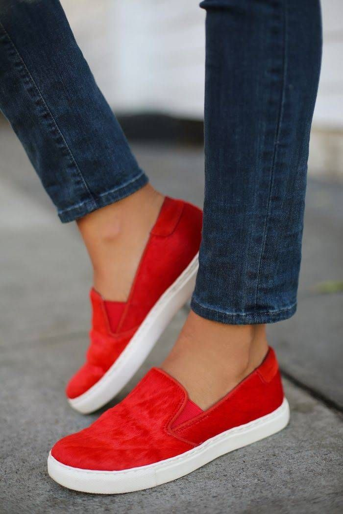 #Cole Productions red calf hair sneakers