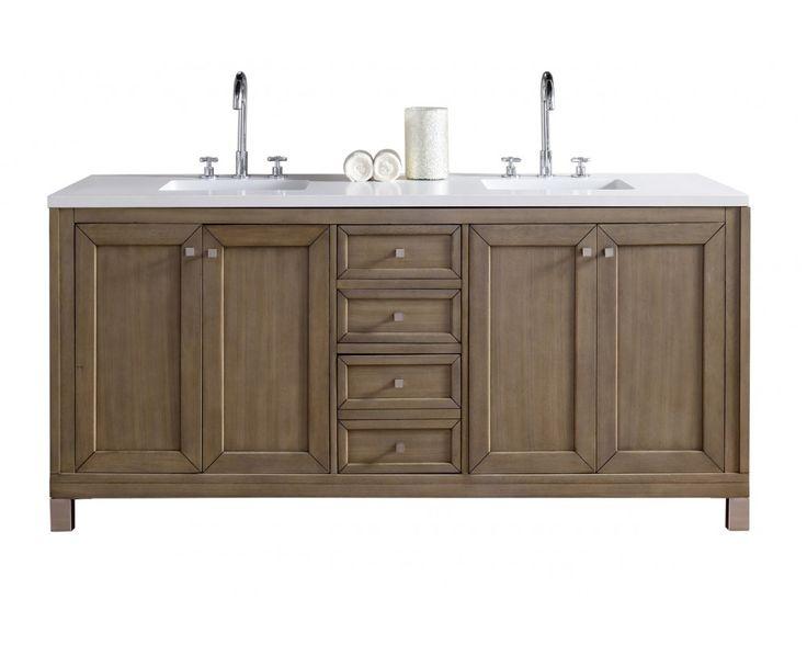 "72"" Chicago Walnut Double Sink Bathroom Vanity"