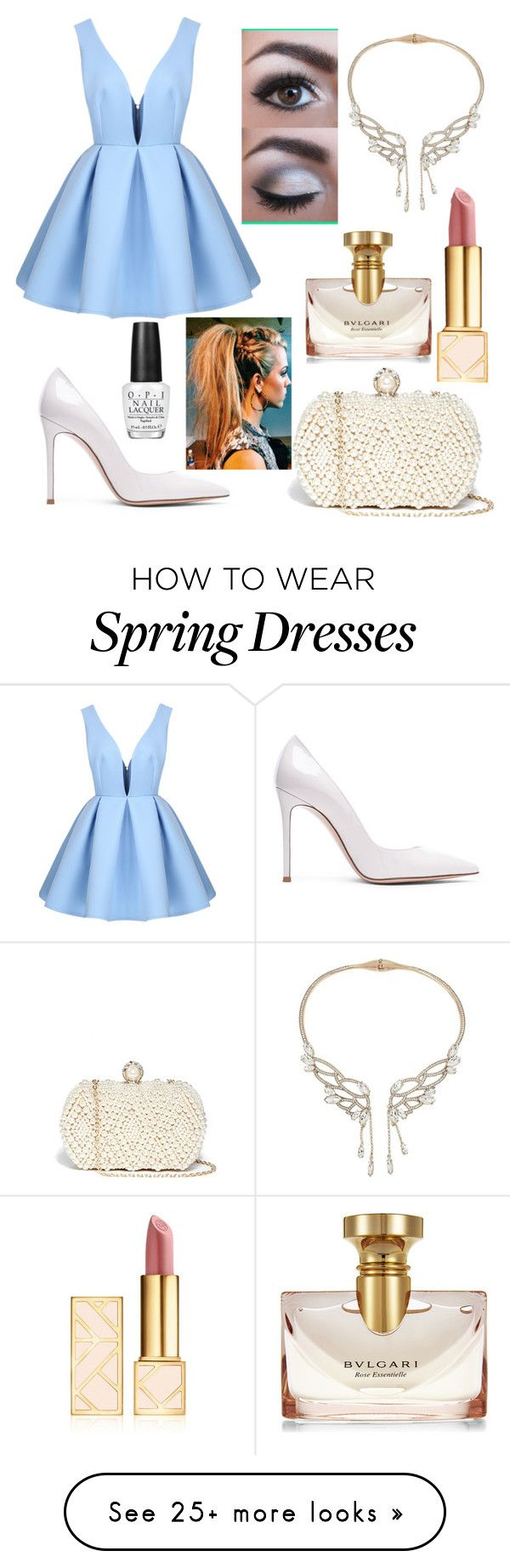 """""""High class GNO"""" by lucyf116 on Polyvore featuring Gianvito Rossi, GUESS, Betsey Johnson, Tory Burch, Bulgari and OPI"""