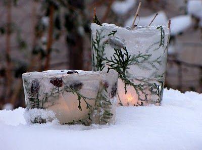 ice lanternsWinter Parties, Holiday Ideas, Winter Crafts, Candles Holders, Teas Lights, Christmas, Ice Lanterns, Orange Juice, Ice Votive