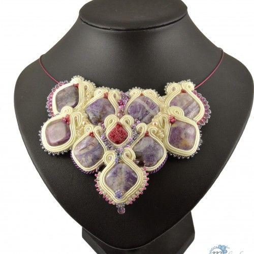 Ślubny naszyjnik smocza łuska - haft sutasz - Biżuteria ślubna - Biżuteria srebrna