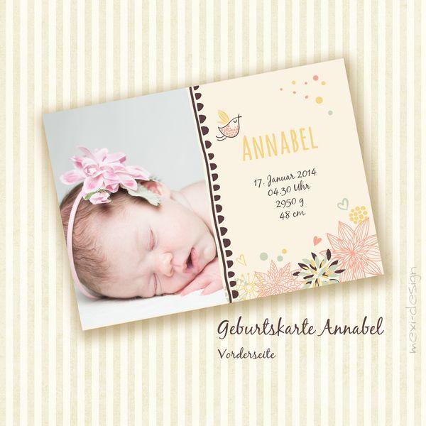 Individuelle Geburtskarte Annabel - Din A6 von mexi-photos   photoinspirations auf DaWanda.com