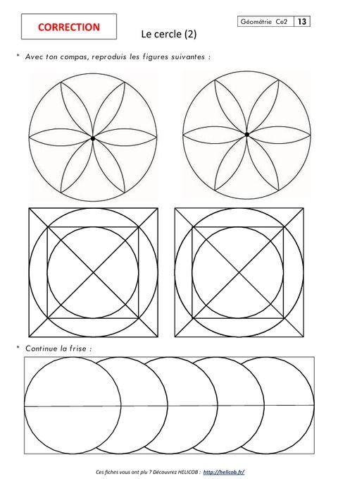 Cercle – Ce2 – Exercices corrigés – Géométrie - Pass Education
