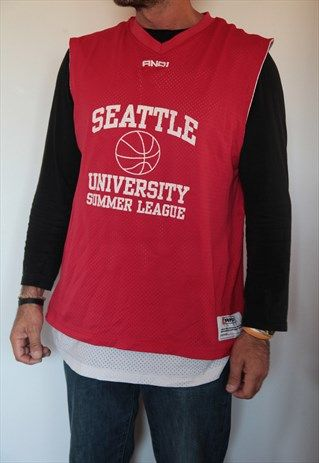 AND1 DOUBLE FACE SEATTLE BASKETBALL TANK TOP.