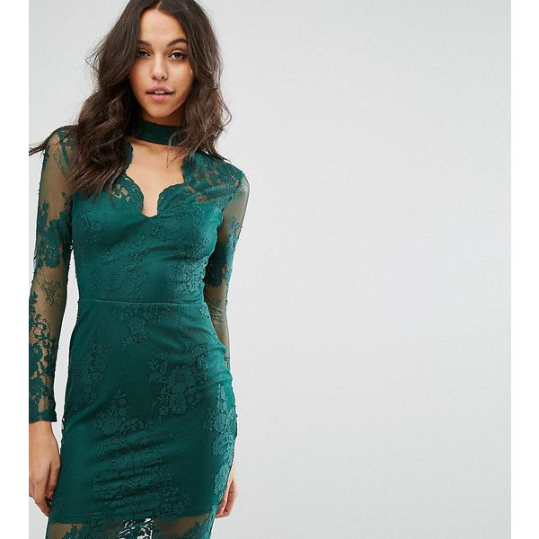 Michelle Keegan Loves Lipsy Lace Bodycon Dress With Plunge Neck ($78) ❤ liked on Polyvore featuring dresses, green, sexy cocktail dresses, sexy dresses, cutout bodycon dresses, sexy bodycon dresses and sexy body con dresses