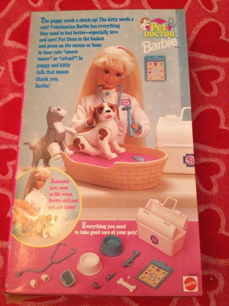 1996 Barbie Pet Doctor with dog, cat and bed makes sounds - Mattel 14603 - NRFB BLONDE Sounds Still Work! | eBay