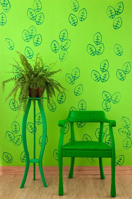 Carimbo na parede: crie seu desenho com barbante, papelão e tinta - Casa.com.br