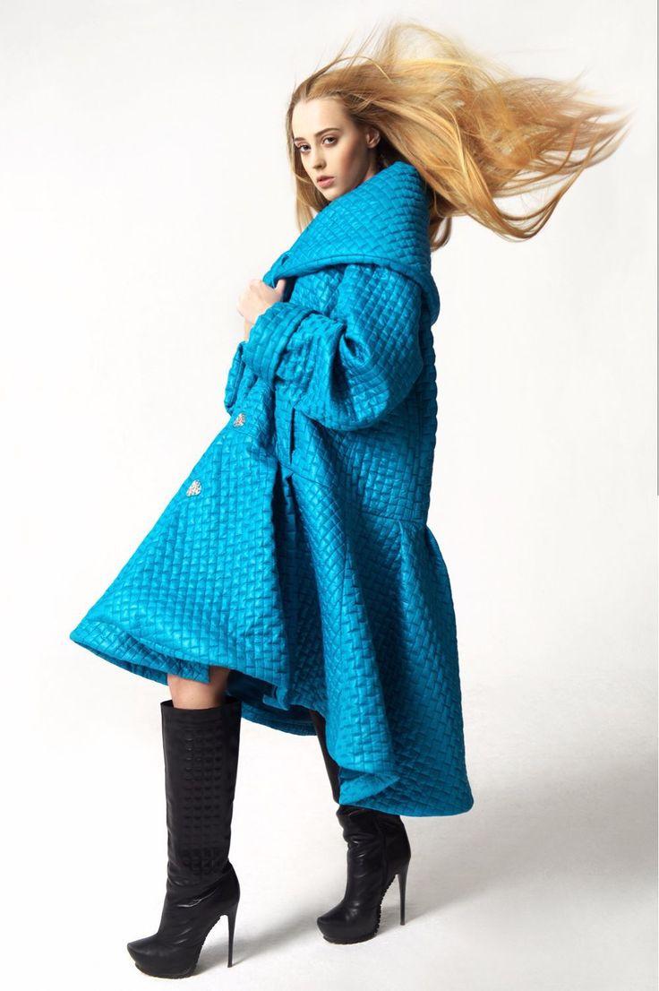 Quilted coat / Купить Стеганое пальто оверсайз - бирюзовый, стеганое пальто, пальто dior, пальто диор