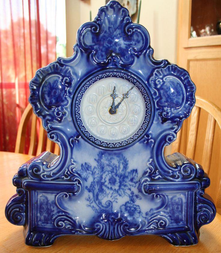 Antique Vintage Delft Blue Mantel Shelf Clock Porcelain   eBay