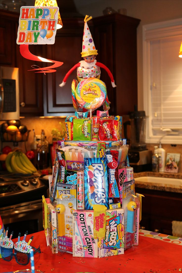 Birthday Elf On The Shelf.  Elf On The Shelf. Candy Cake.