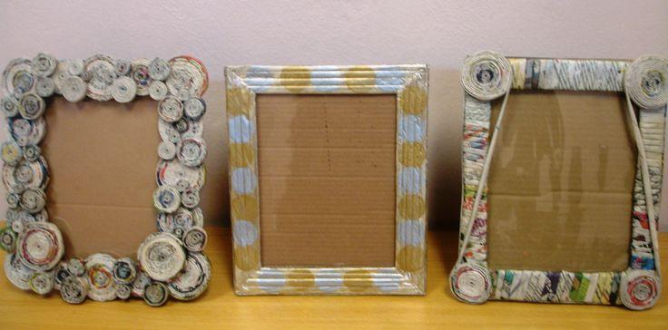 Portaretratos reciclados con: cartón, periódico y foamy ...