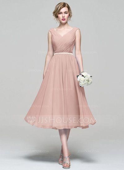 A-Line/Princess V-neck Tea-Length Chiffon Bridesmaid Dress With Ruffle (007074187) - JJsHouse