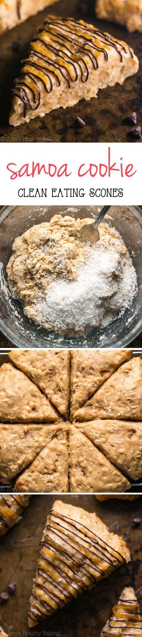 Clean-Eating Samoa Cookie Scones -- they taste just like the Girl Scout cookies! So easy, supremely tender & packed with 5g of protein!