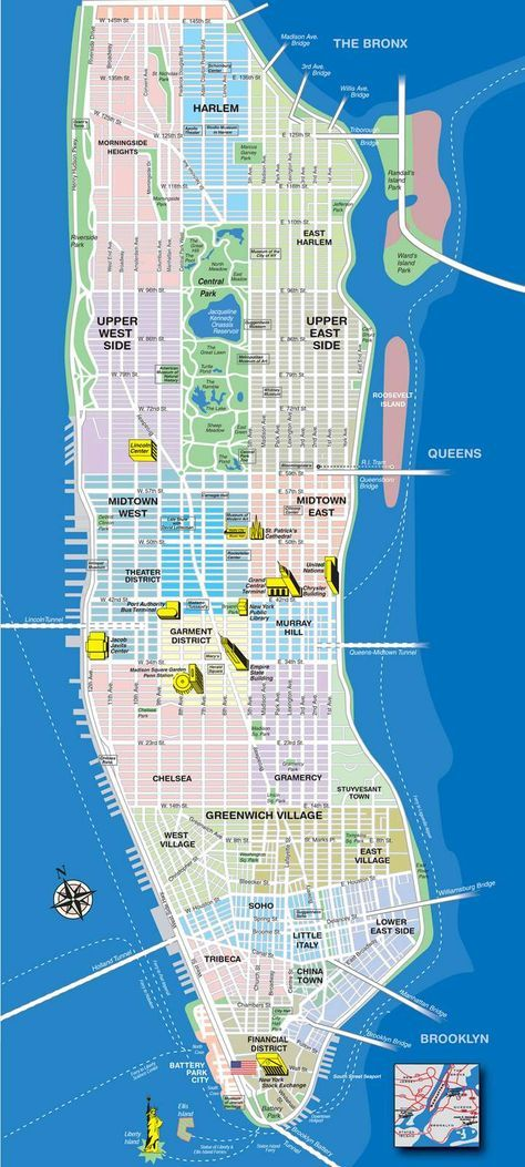 High-resolution map of Manhattan for print or download