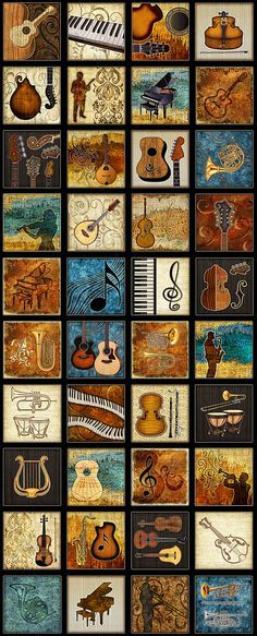 """Dan Morris - Encore - Naturally Inspired Music - 24"""" x 44"""" PANEL - Quilt Fabrics from www.eQuilter.com"""
