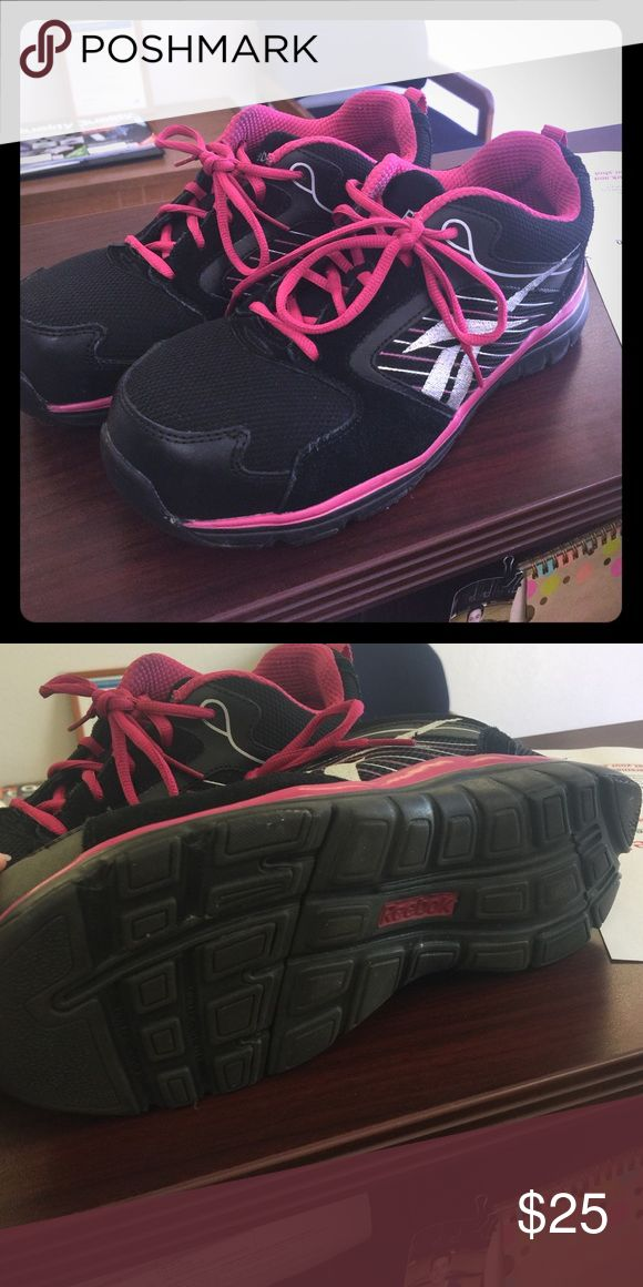 Reebok Women's Safety Steel toe shoes Reebok Safety shoes! Steel toe! Size 8.5 only wore maybe 3 times! Perfect for the lady who works in the shop, welder, or  construction! Protect those feet in style! Reebok Shoes Sneakers