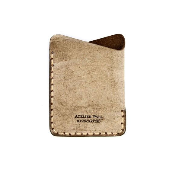 Minimalist Slim Leather Wallet with Card Holder Angle Wallet in waxed brown Leather Men Wallet Women Wallet