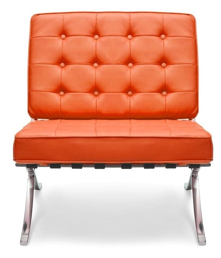 Orange Leather Barcelona Chair
