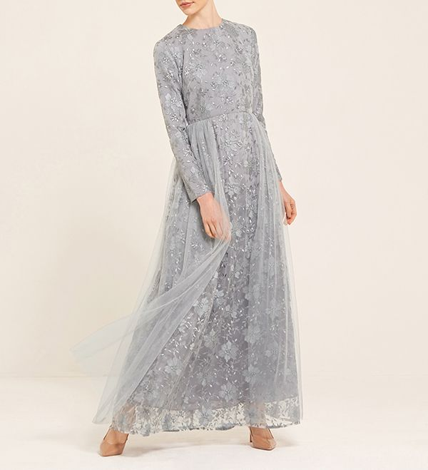 Erin Lace Tulle Prom Dress In Blue Smoke - £110.00 : Inayah, Islamic Clothing & Fashion, Abayas, Jilbabs, Hijabs, Jalabiyas & Hijab Pins