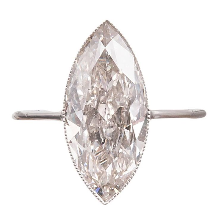 1920s 3.56 Carat Marquise Diamond Platinum Solitaire Ring