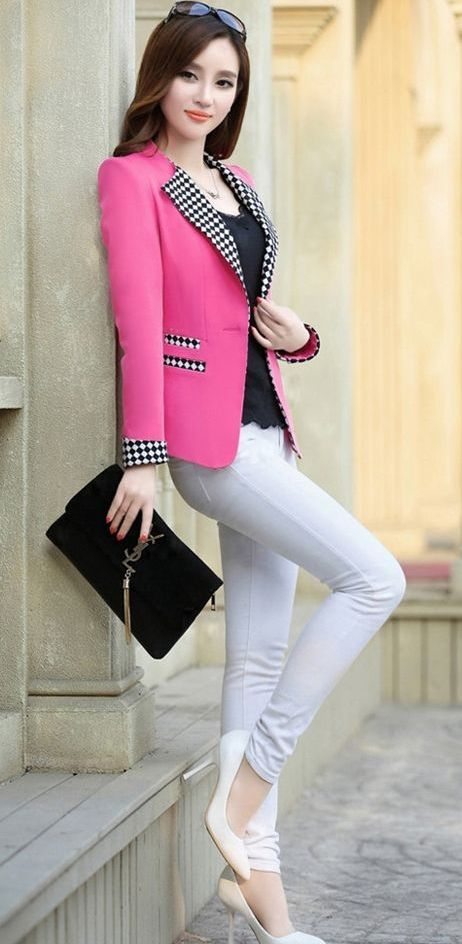 Nuevo 2014 mujeres del resorte de Color chocolate fino a cuadros un botón chaquetas mujer Vestidos chaqueta prendas de vestir exteriores Jaqueta Feminina trajes
